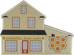 Candabean Collectibles  - Cat's Meow Village Grandmother's Flower Garden Quilt Barn Shop