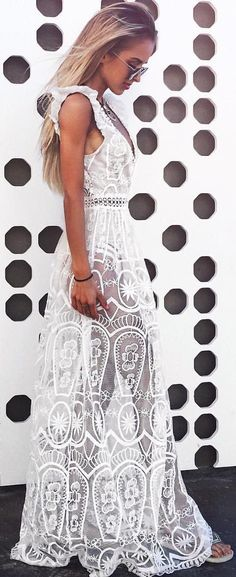 #summer #outfits White Lace Maxi Dress