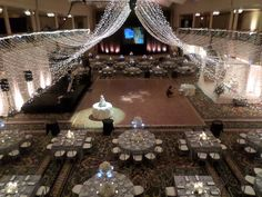 An overview of the decorated wedding reception @ the Renaissance Hotel