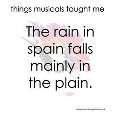 My Fair Lady quote musical The rain in Spain falls mainly in the plain. Audrey Hepburn