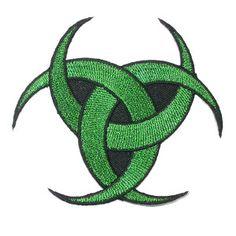 Iron On Patch Applique Triple Moon Metallic Green