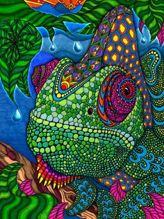 Phil Lewis Coloring Pages | The Chameleon - Phil Lewis Art - Coloring Books for Adults