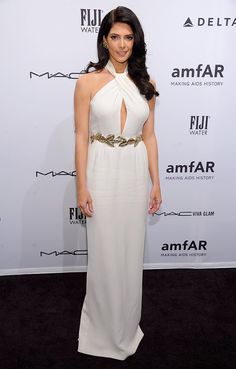 Ashley Greene opted for a white Giambattista Valli gown with a gilded belt for the amfAR New York Gala.