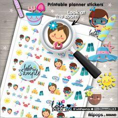 Summer Stickers, Printable Planner Stickers, Season Stickers, Kawaii Stickers, Erin Condren, Planner Accessories, Vacation Stickers, Break