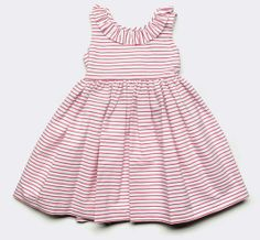 Cotton Dress with Ruffle Collar in White/Red Stripe: Our classic and charming cotton dress with ruffle collar in white/red stripe. Matching panty included. Makes a perfect pick for many occasions!