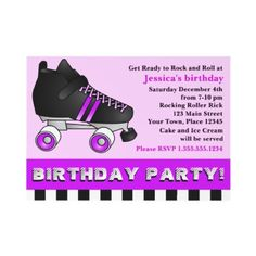 Purple Roller Skate Birthday Party Announcement from http://www.zazzle.com/roller+skating+invitations