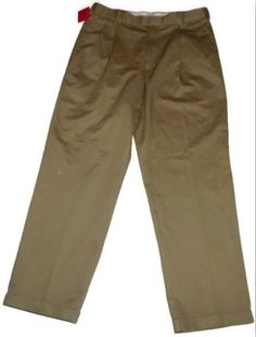 NWT DOCKERS PREMIUM COMFORT KHAKI PLEATED CUFFED RELAXED FIT PANTS 33 x 30  #DOCKERS #DressPleat