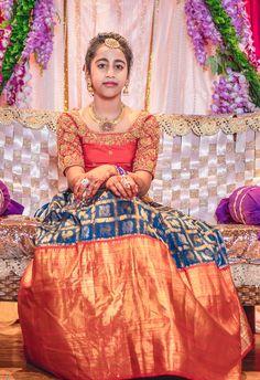 Half Saree Function Photography Half Saree Lehenga, Lehenga Saree Design, Lehenga Designs, Sarees, Half Saree Function, Function Dresses, Girls Frock Design, Kids Frocks Design, Kids Blouse Designs