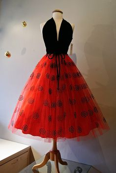 Vintage Velvet halter neck dress with red flocked tulle skirt