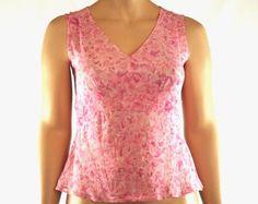 Women's 12 Casual Corner 100% Silk Top Sleeveless V-Neck Tie Back Empire Waist #CasualCorner #Blouse #Casual