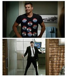 David Boreanaz haha he is funny. Booth And Bones, Booth And Brennan, Bones Quotes, Bones Tv Show, Hot Vampires, Favorite Tv Shows, My Favorite Things, Cop Show, Neil Patrick Harris