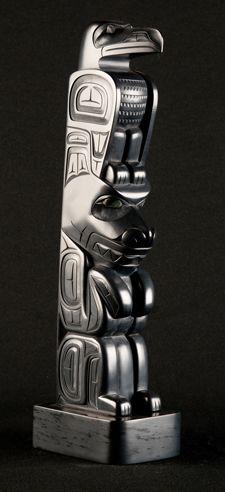 Raven & Bear Argillite Totem, $4,500