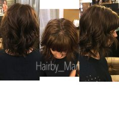 Long tossed bob with straight across bangs. Hair by Mari
