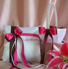 Weddings Flower Girl Basket and Ring Bearer Pillow by All4Brides, $55.00