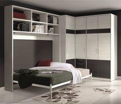 Armoire lit transversale, armoires lits escamotables, Armoire lit escamotable ATHENA avec dressing et rangements Couchage 140/190cm