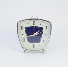 Vintage Shanghai China Diamond alarm clock, White Blue Mechanical Alarm Clock,  Manual Winding Old Desk clock, mint green case, Working on Etsy, £19.13
