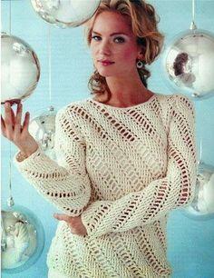 As Receitas de Crochê: Blusa em crochê com manga comprida