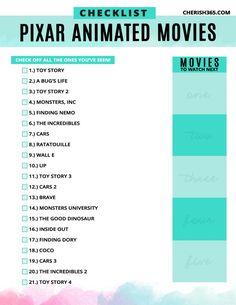 Every Pixar Movie Coming to Disney Plus (and What's Missing) Which Pixar movies are on Disney Plus. A Pixar movie checklist for Disney+ Movie To Watch List, Disney Movies To Watch, Film Disney, Best Disney Movies, Movie List, Best Movies List, All Pixar Movies, Pixar Animated Movies, Marvel Movies