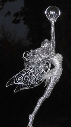 This fairy was a gift for someone who was described as a good witch, someone who loves everything magic. I created a fairy holding the moon, as the moon represents female strength and magic. This fairy was about tall overall Wire Art Sculpture, Wire Sculptures, Funky Jewelry, Wire Jewelry, Jewellery, Magic Fairy, Fairy Art, Waste Art, Garden Whimsy