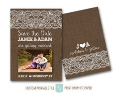 Rustic Burlap & Lace Save the Date with Photo- Printable File- Wedding Invite or Save the Date. Click through to find matching games, favors, thank you cards, inserts, decor, and more. Or shop our 1000+ designs for all of life's journeys. Weddings, birthdays, new babies, anniversaries, and more. Only at Aesthetic Journeys