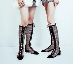 a81124c0879 Botte lacée Dior Naughtily-D en résille noir - Dior