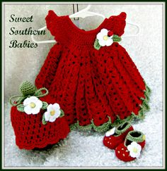 Ähnliche Artikel wie Baby Girl& Dress, Hat, Booties - Strawberry Themed on Etsy - Sweet Southern Babies - - Ähnliche Artikel wie Baby Girl& Dress, Hat, Booties - Strawberry Themed on Etsy - Sweet Southern Babies Baby Girl Crochet, Crochet Baby Clothes, Crochet For Kids, Crochet Crafts, Crochet Projects, Hat Crochet, Strawberry Dress, Baby Crafts, Beautiful Crochet