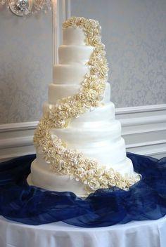 8 tier White Chocolate Rose Cascade  Cake by KellyAnns