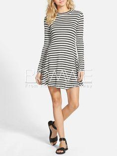 Grey White Long Sleeve Striped Dress