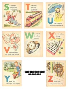 Vintage alphabet flashcards - part 3. Love it!!     Illustrated by UncommonARTicles, on etsy.