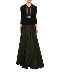 Pleated+Cotton+Maxi+Skirt,+Green/Black+and+Matching+Items+by+Bottega+Veneta+at+Bergdorf+Goodman.