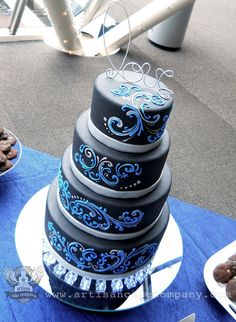 Black, Blue and Silver Scroll Four Tier Wedding Cake. Made by Elizabeth Marek - Check it out Prevost! It's our cake! Gay Wedding Cakes, Black Wedding Cakes, Blue Wedding, Cupcakes, Cupcake Cakes, Beautiful Cakes, Amazing Cakes, Artisan Cake Company, Blue Cakes
