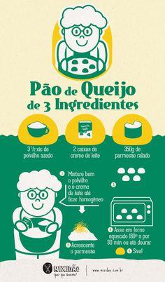 receita infográfico de pão de queijo de 3 ingredientes