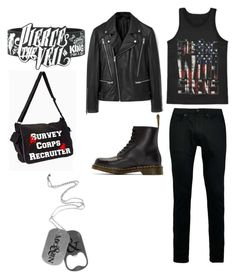"""""""Sleeping with sirens, Pierce the veil, attack on titan amd of mice and men"""" by emobvbptv on Polyvore featuring MANGO MAN, Topman, Dr. Martens, men's fashion and menswear"""