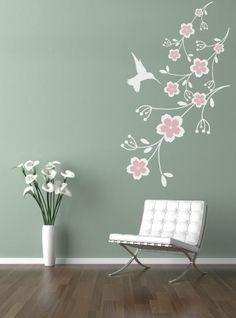 Thinking of this for Penny's room: Vinyl Wall Sticker Decal Art  Humming bird by urbanwalls on Etsy, $35.00