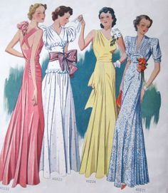 Late 1930s evening wear loveliness. #vintage #1930s #fashion #dresses