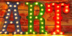 """24 """"Gran circo las Vegas carnaval marquesina Letras de madera...       A B C D E F G H I J K L M N O P Q R S T U V W X Y Z"""