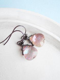 Peachy Pink Swarovski Crystal Earrings Blushing