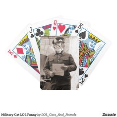 Military Cat LOL Funny Bicycle Playing Cards