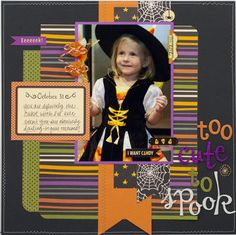 "Darling ""Too Cute To Spook"" Halloween  scrapping Layout...Scrapbook.com."