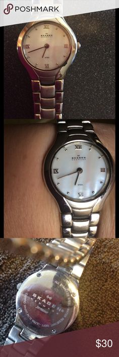 Skagen of Denmark watch pearl face Gorgeous and classy Skagen watch with pearl face. Gently used. Works great! Brand new battery. Skagen Accessories Watches