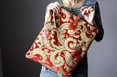 Carpet leather bag Large Leather foldover by VitalTemptation
