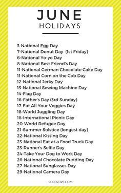 Fun & Random June Holidays To Celebrate - So Festive!