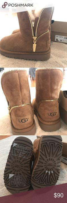 Kids UGG boots Cute UGG boots for kids! Brand new! Has awesome gold zipper detail. Size 9 UGG Shoes Boots