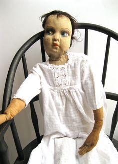 """Antique Victorian Folk ART Cloth Doll 32"""" Creepy Horror Spooky Goth Scary Cute   eBay"""