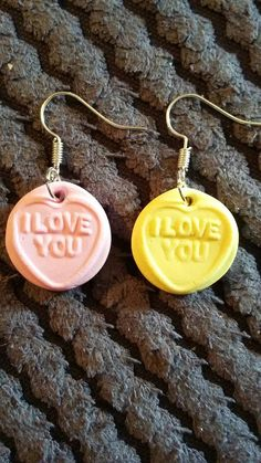 Handmade Love Heart Sweets pair of earrings by Cazmade on Etsy