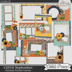 #2016 September - Stacked Pocket Frames by Connie Prince. Includes 10 cards (5) 4x6 size & (5) 6x4 size. Saved in PNG format. Shadows ARE included. Scrap for hire / others ok.