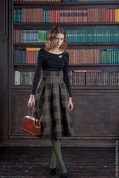 """Купить Зимняя юбка из шерсти """"Соната"""" коричневая клетка - теплая одежда, теплая юбка"""