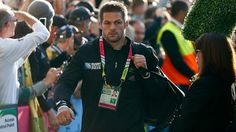 All Blacks captain Richie McCaw arrives at Twickenham ahead of the Rugby World Cup final.
