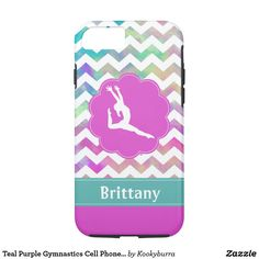 Teal Purple Gymnastics Cell Phone Case - Gift for Gymnast - Girls Sports Gifts Gymnastics Gifts, Sports Gifts, Teal, Purple, Cell Phone Cases, Gymnasts, Girls, Phone Case, Girlfriends