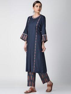 Indigo Ajrakh-printed Cotton Rayon Kurta with Embroidery Indian Attire, Indian Outfits, Indian Wear, Indian Clothes, Khadi Kurta, Kurta Patterns, Kurta Neck Design, Indian Look, Pantsuits For Women